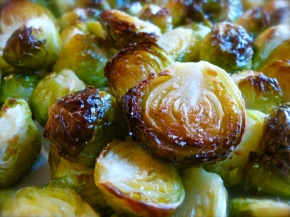 Roasted Brussels Sprouts with Shiitake Mushrooms and Sesame Vinaigrette