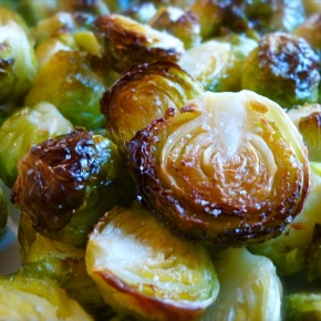 Roasted Brussels Sprouts with Shiitake Mushrooms and SesameVinaigrette