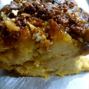 Gluten Free Egg Nog Bread Pudding with Poached Apples, Candied Pecans, and Caramel Sauce(ohmygod)