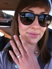 Driving to see my honey...with (gasp!) a ring on it.